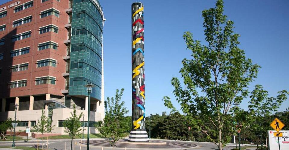 "Glasturm ""Search"" Lighted glass tower Fred &Pamela Buffett Cancer Center University of Nebraska Medica Center Omaha"""